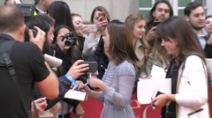 Jenna Colman at the UK Me Before You Premiere Stock Footage