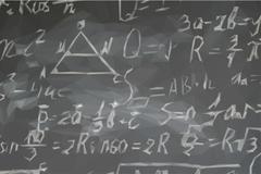 Math formulas on black board Stock Illustration