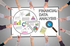 Financial data analysis concept on a whiteboard Stock Photos