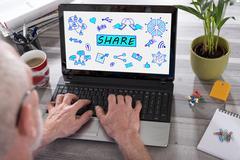 Share concept on a laptop screen Stock Photos