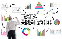 Data analysis concept drawn by a businessman Stock Photos