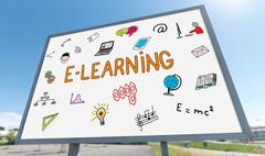 E-learning concept on a billboard Stock Photos