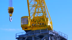 4K Hook on Heavy Shipping Port Crane, Cargo Industry Freight Industry Stock Footage