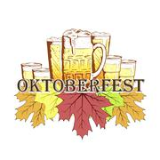 Oktoberfest emblem in hand drawn sketch style Stock Illustration