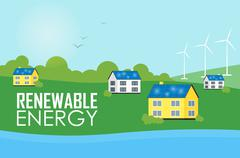 Renewable energy. Eco settlement near river. Stock Illustration
