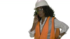Woman of african decent working on the job site Stock Footage