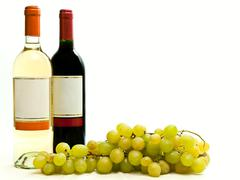 Red and White Wine with Grape Stock Photos