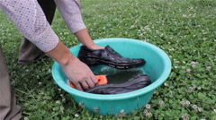 Wash your shoes in a bowl Stock Footage