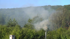 Grey Smoke Rises From the Funnel Stock Footage