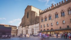 Timelapse of San Petronio, Bologna, Italy, 20 august 2016 Stock Footage