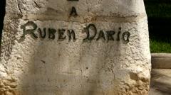 Marble sculpture of Nicaraguan poet Ruben Dario Stock Footage