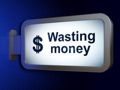 Money concept: Wasting Money and Dollar on billboard background Stock Illustration