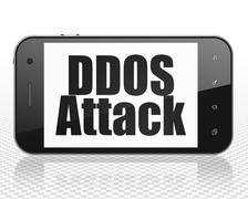 Privacy concept: Smartphone with DDOS Attack on display Stock Illustration