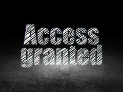 Protection concept: Access Granted in grunge dark room Stock Illustration