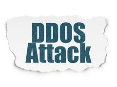 Safety concept: DDOS Attack on Torn Paper background Stock Illustration
