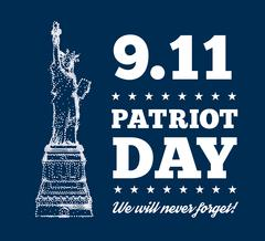Patriot Day, September 11. Statue of Liberty Stock Illustration
