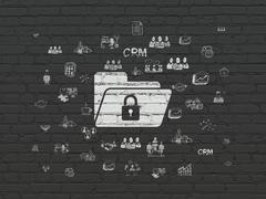 Business concept: Folder With Lock on wall background Piirros