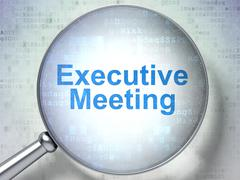 Finance concept: Executive Meeting with optical glass Stock Illustration