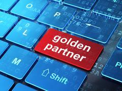 Finance concept: Golden Partner on computer keyboard background Stock Illustration
