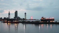 Night City Of Batumi, Georgia. Batumi Sea Port Stock Footage