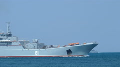 Russian military amphibious ships to naval exercises Stock Footage