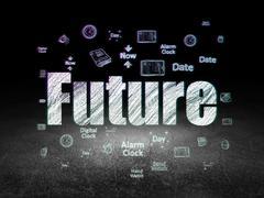 Time concept: Future in grunge dark room Stock Illustration