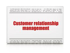Marketing concept: newspaper headline Customer Relationship Management Stock Illustration
