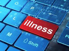 Healthcare concept: Illness on computer keyboard background Stock Illustration