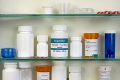 Ibuprofen Medicine Cabinet Stock Photos