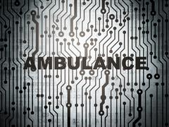 Healthcare concept: circuit board with Ambulance Stock Illustration