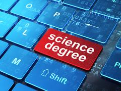 Science concept: Science Degree on computer keyboard background Stock Illustration