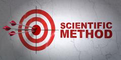 Science concept: target and Scientific Method on wall background Stock Illustration