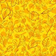 Leaves of Plants Pictogram, Seamless Stock Illustration