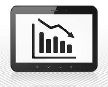 News concept: Tablet Pc Computer with Decline Graph on display Stock Illustration