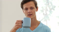 Portrait of Man Drinking Coffee, Taking a Sip Stock Footage