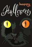 Halloween black cat with colored eyes. Halloween handwritten lettering. Vector Piirros