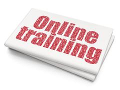 Studying concept: Online Training on Blank Newspaper background Stock Illustration