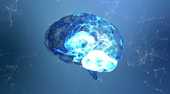 Human brain revolving with connected lines and dots on blue background Stock Footage