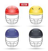 Set of Cricket Helmets Front View Stock Illustration