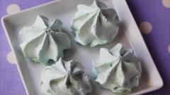 Freshly made meringue cookies, rotating Stock Footage