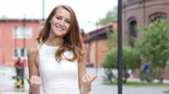 Inviting Beautiful Young Girl, Standing Outdoor Stock Footage