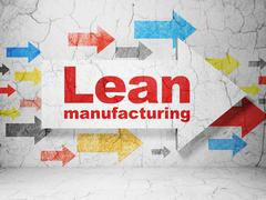 Manufacuring concept: arrow with Lean Manufacturing on grunge wall background Piirros
