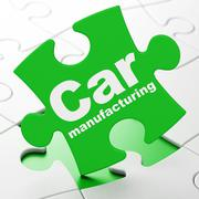 Manufacuring concept: Car Manufacturing on puzzle background Piirros