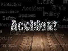 Insurance concept: Accident in grunge dark room Stock Illustration