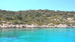 Beautiful Mediterranean coast view from the sea Stock Footage