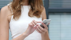 Close Up, Using Smartphone by Beautiful Girl, Outside Office Stock Footage