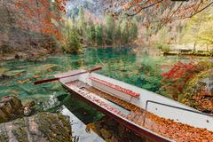 Blausee. One of the best-known mountain lakes in Switzerland. Beautiful cryst Stock Photos