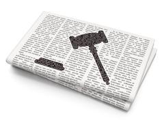 Law concept: Gavel on Newspaper background Stock Illustration