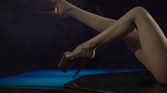 Sexy performer dancing erotic pole dance at night club Stock Footage