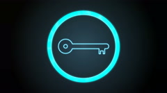 Bluish Key Icon with digital code Stock Footage